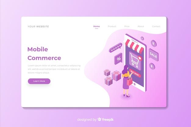 Página de inicio de marketing de comercio móvil