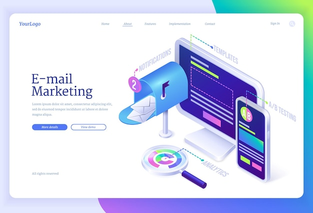 Página de inicio de marketing por correo electrónico en vista isométrica