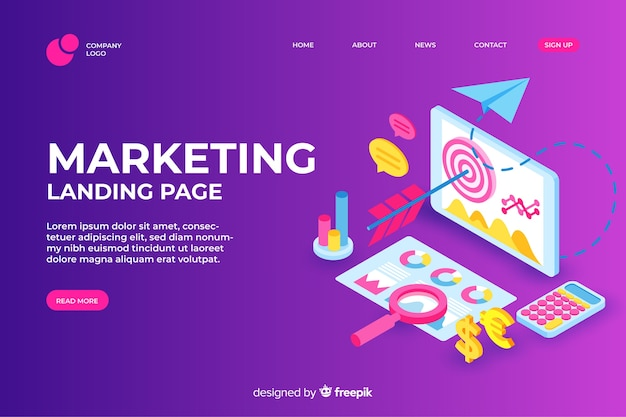 Página de inicio de marketing de diseño isométrico