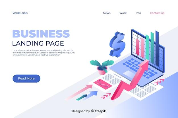 Página de inicio de marketing en estilo isométrico