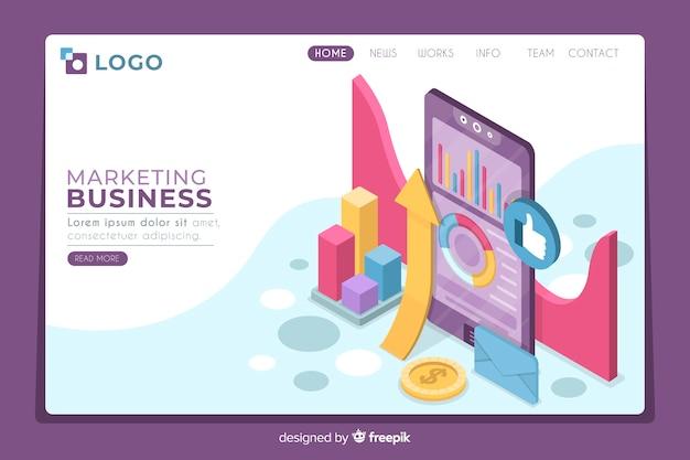 Página de inicio de marketing isométrica moderna