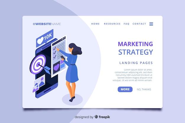Página de inicio de marketing isométrica