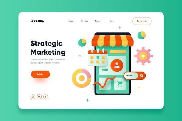 Página de inicio de marketing online de diseño plano