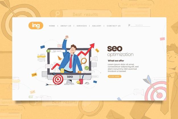 Página de inicio de marketing online ilustrada
