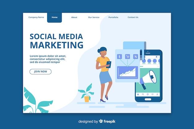 Página de inicio de marketing para redes sociales
