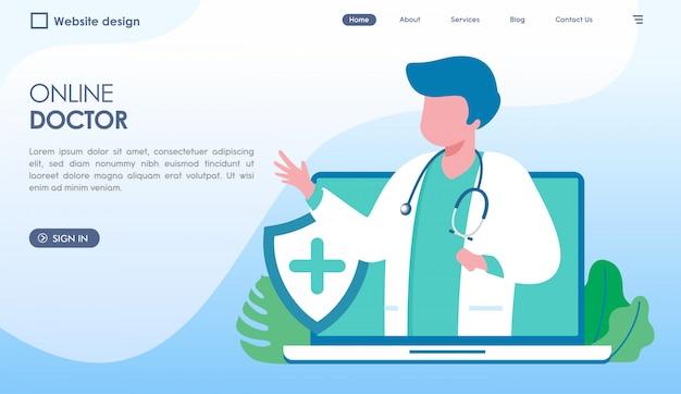 Página de inicio del médico en línea en estilo plano