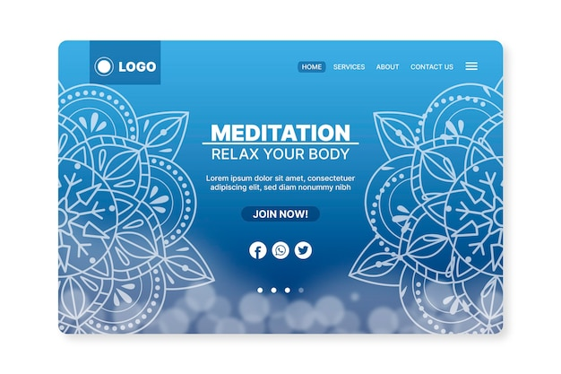 Página de inicio de meditación de yoga