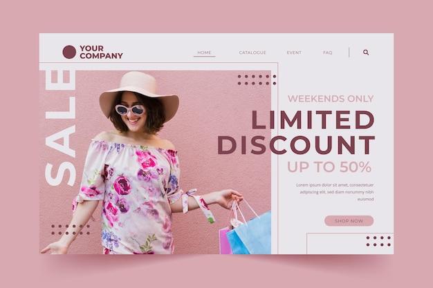Página de inicio de moda de venta con descuento limitado