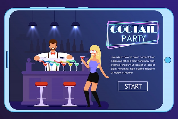 Página de inicio móvil que invita al cóctel