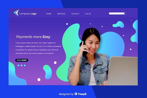 Página de inicio con mujer con laptop photo