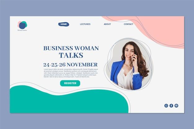 Página de inicio de mujer de negocios