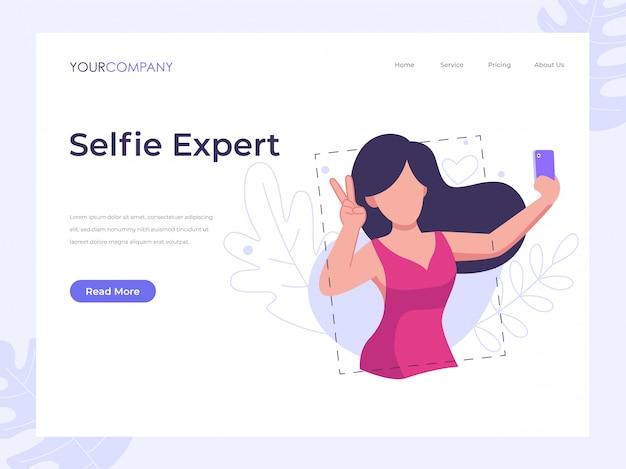 Página de inicio de mujer selfie