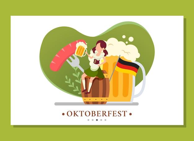 Página de inicio de la mujer sentada en el barril mientras bebe en el evento oktoberfest