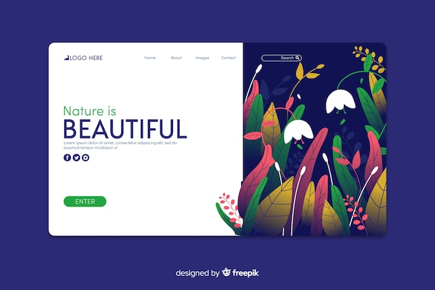 Página de inicio de la naturaleza en diseño plano