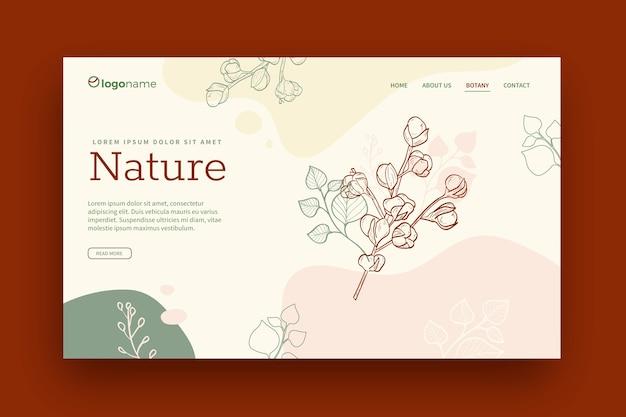 Página de inicio de naturaleza de plantilla dibujada a mano
