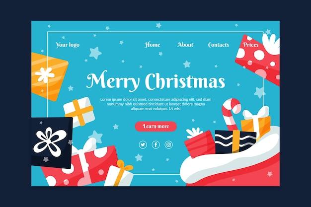 Página de inicio de navidad de diseño plano