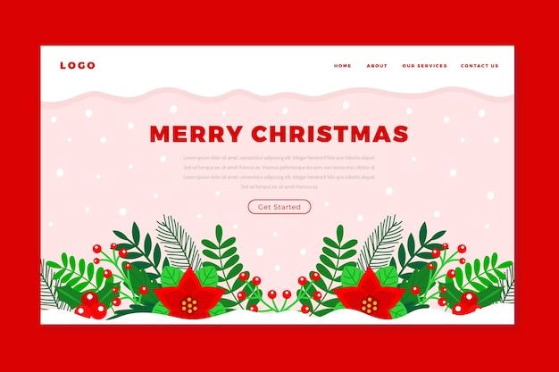 Página de inicio de navidad en diseño plano