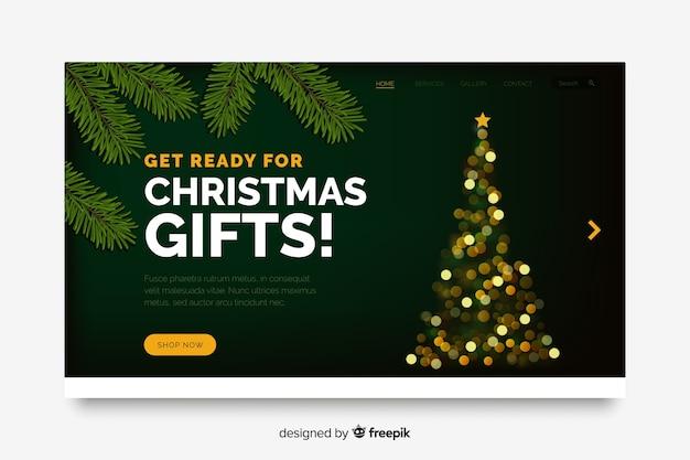Página de inicio de navidad con efecto bokeh