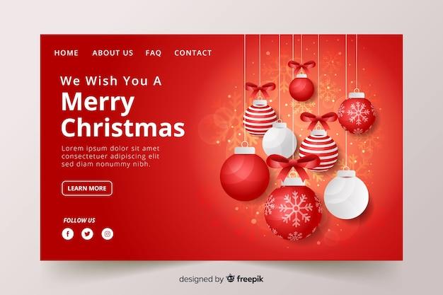 Página de inicio de navidad con globos de estilo de diseño plano
