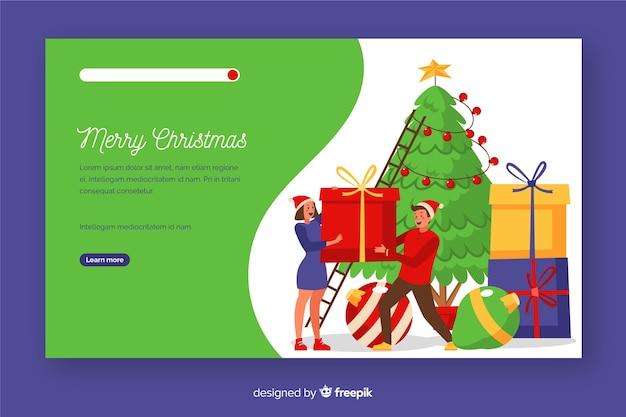 Página de inicio de navidad plana con árbol de navidad