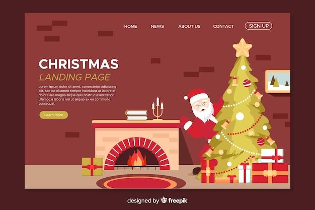 Página de inicio de navidad plana con chimenea