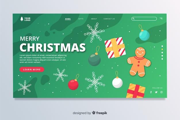 Página de inicio de navidad plana con decoraciones