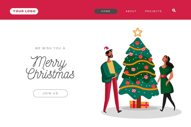 Página de inicio de navidad plana con gente decorando un árbol