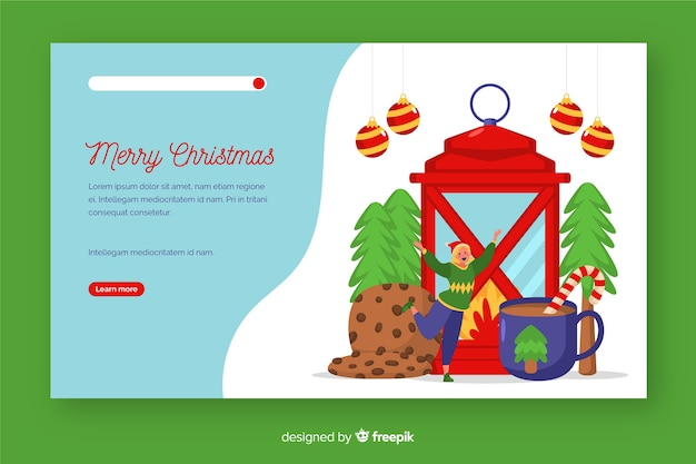 Página de inicio de navidad plana con linterna