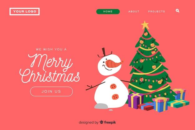 Página de inicio de navidad plana con muñeco de nieve y árbol