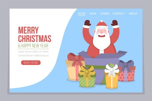 Página de inicio de navidad plana con santa claus