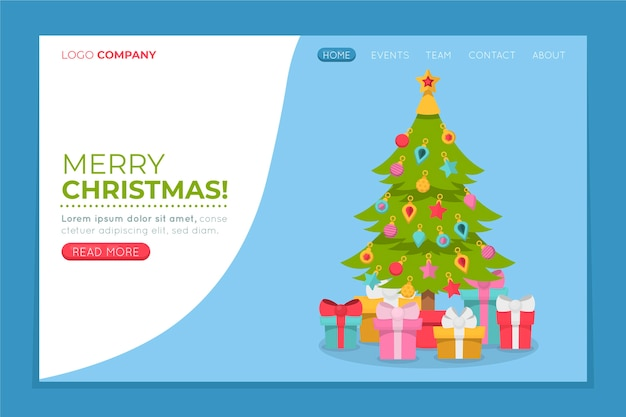 Página de inicio de navidad plana