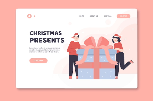 Página de inicio de navidad con regalos