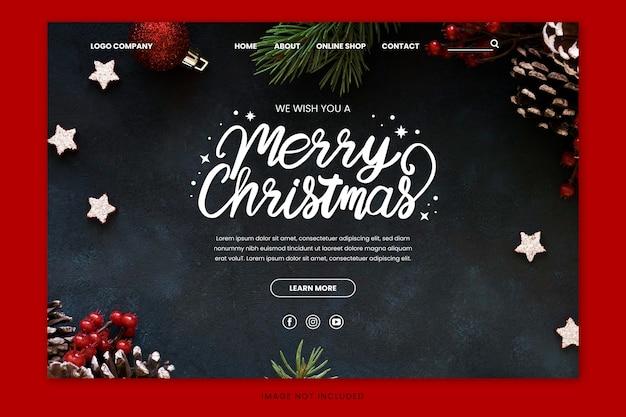 Página de inicio navideña con letras dibujadas a mano