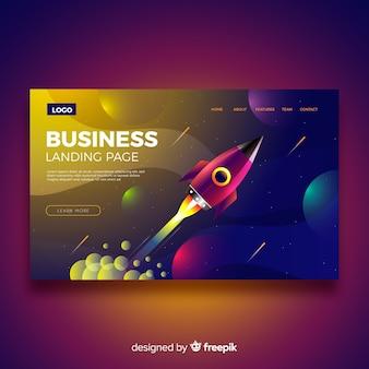 Página de inicio de negocios con cohete