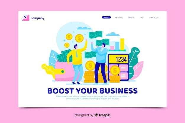Página de inicio de negocios coloridos