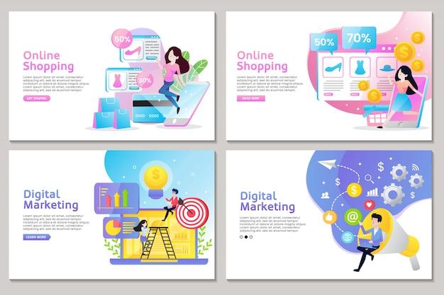 Página de inicio de negocios de compras en línea y marketing digital con personas