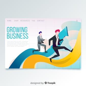 Página de inicio de negocios en crecimiento