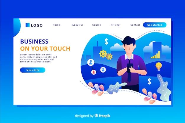 Página de inicio de negocios de diseño plano con personajes