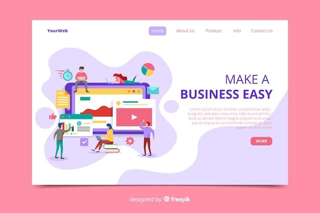 Página de inicio de negocios de diseño plano