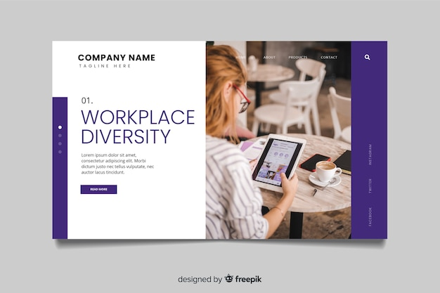 Página de inicio de negocios de diversidad en el lugar de trabajo con foto