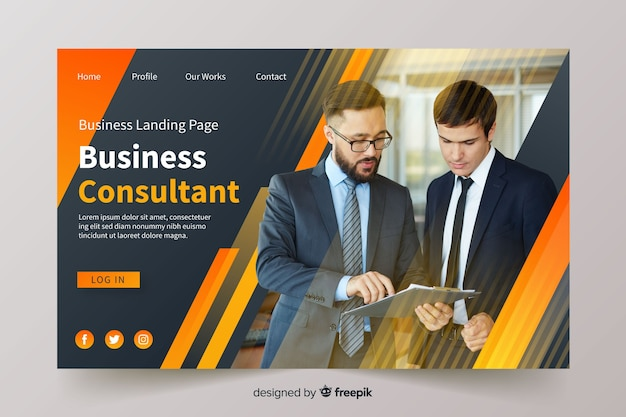 Página de inicio de negocios con foto