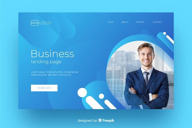 Página de inicio de negocios futurista fluida con foto