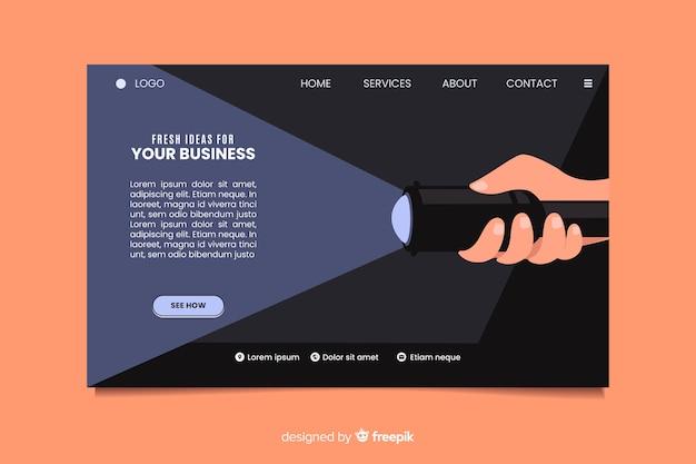 Página de inicio de negocios de ideas frescas