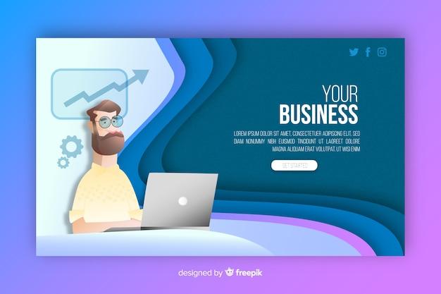 Página de inicio de negocios ilustrada con el hombre en la computadora