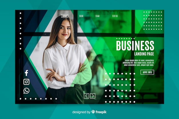 Página de inicio de negocios con imagen