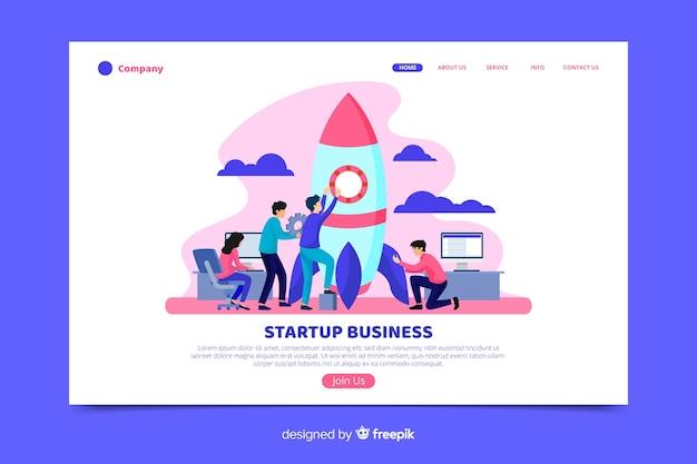 Página de inicio de negocios de inicio con cohete
