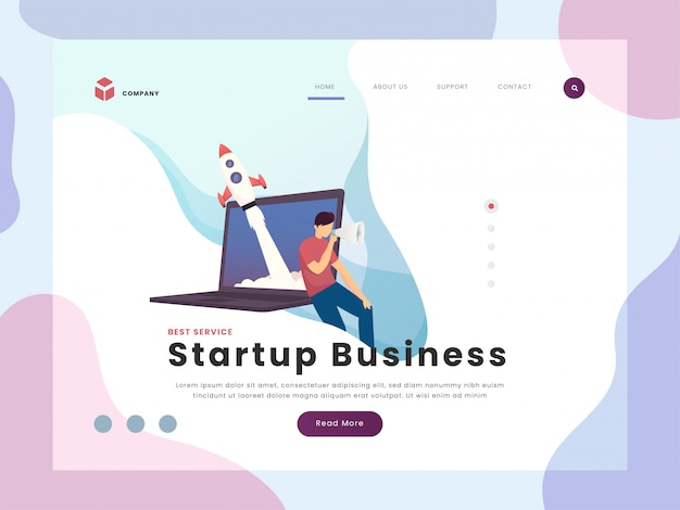 Página de inicio de negocios de inicio