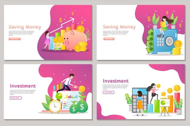 Página de inicio de negocios de inversión y ahorro de dinero con personas