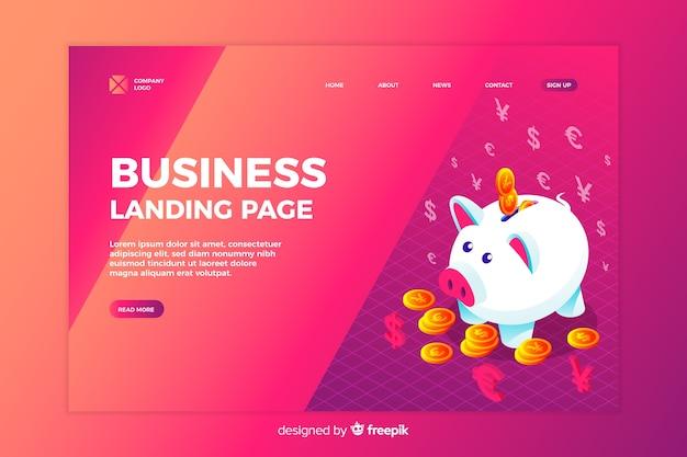 Página de inicio de negocios isométrica
