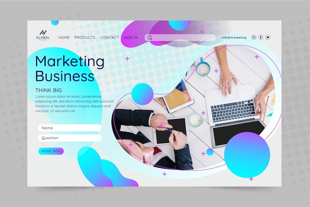 Página de inicio de negocios de marketing